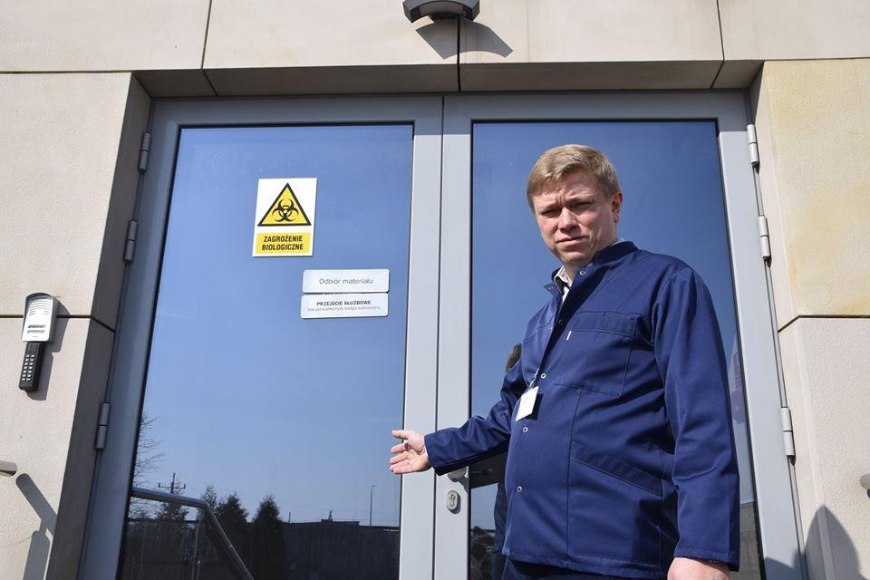 Dr inż. Marcin Zawierucha – Dyrektor RCNT; miejsce przyjęcia materiału biologicznego.